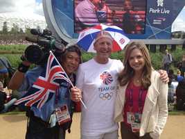 """Deirdre and KCRA photographer Mike """"Domi"""" Domalaog with fans in London."""