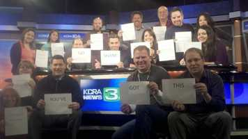 The KCRA team holds signs in support of young Shane Rogers, who suffers from leukemia. Social media, and support like this, has helped lift Rogers' spirits as he battles the disease.