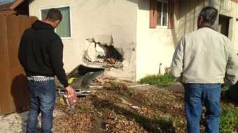 Authorities said no one inside the home was injured.