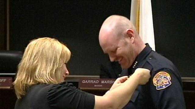 Galen Carroll was sworn in as Modestos new Police Chief.