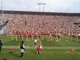 A view from the sidelines at Candlestick Park in San Francisco.
