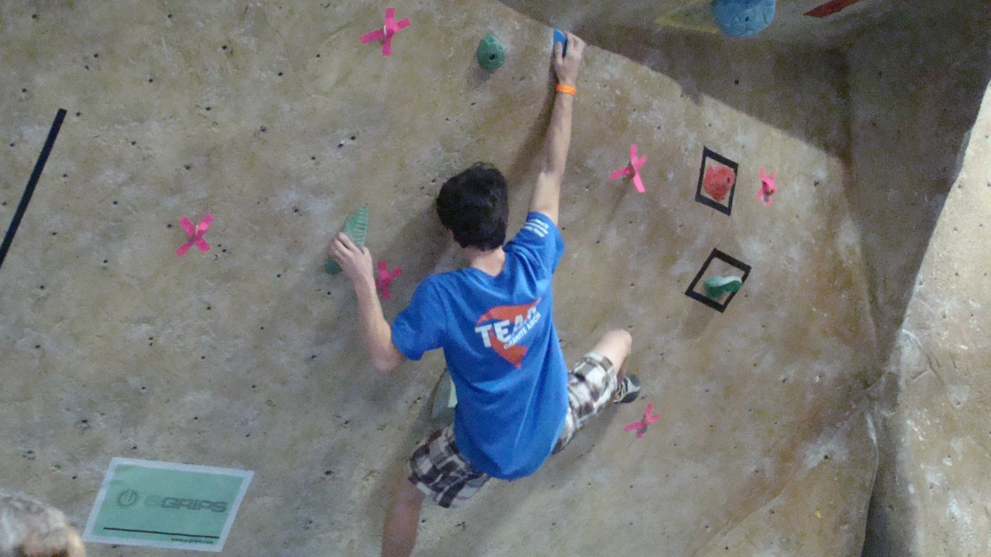 Joseph Diaz climbing his way to second place at the American Bouldering Series Divisional in Oregon.