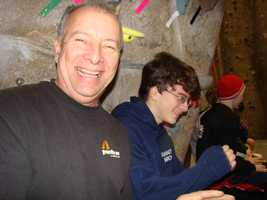 Joseph Diaz, and his father James, at the American Bouldering Series divisional championships in Tigard, Ore.