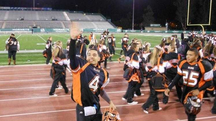 Jacod Te'o after Vacaville's win over Folsom in 2011 at Sacramento State's stadium.