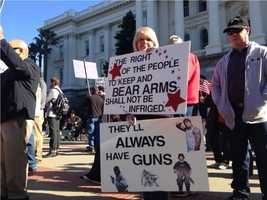 "Hundreds gathered on the steps of the state Capitol on Saturday as part of ""gun appreciation day."""