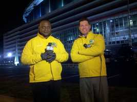Del Rodgers and Chris Riva in front of the Georgia Dome. (January 19, 2013)