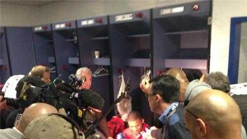 In the locker room with running back, Frank Gore