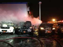 Fire crews worked a fire that started inside a car, and spread to a car dealership in Sacramento early Thursday morning.