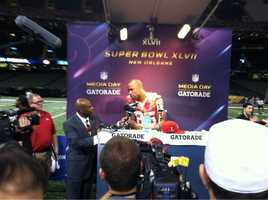 49ers tight end Vernon Davis at Super Bowl XLVII Media Day.