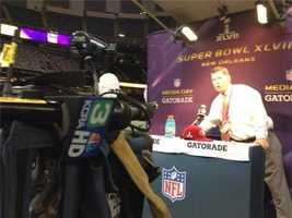 KCRA's Chris Riva does a mic check while at Super Bowl XLVII Media Day.