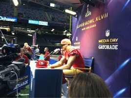 49ers quarterback Colin Kaepernick at Super Bowl XLVII Media Day. (Jan. 29, 2013)