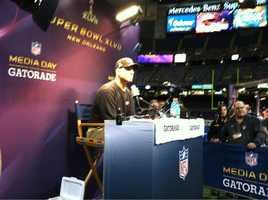 49ers coach Jim Harbaugh at Super Bowl XLVII Media Day.