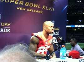 Vernon Davis at Super Bowl XLVII Media Day. (January 29, 2013)