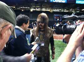 No, the Vikings aren't in the Super Bowl. But Vikings were at Super Bowl XLVII Media Day. (January 29, 2013)