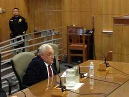 Former Senate President David Roberti, who spearheaded the state's assault weapons ban, testifies at the Capitol.