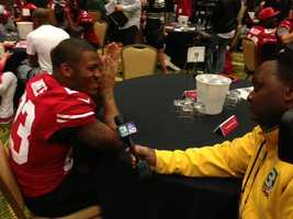LaMichael James chats with KCRA 3's Del Rodgers on Thursday from New Orleans (Jan. 31, 2013).
