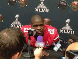 Running back Frank Gore takes questions Thursday in New Orleans (Jan. 31, 2013).