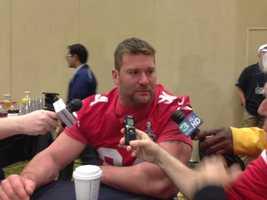 Justin Smith talks to the media Thursday (Jan. 31, 2013).