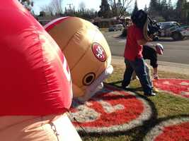 Bubba the inflatable player is the latest addition to the 49ers display.