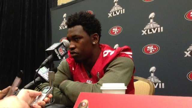 49ers Aldon Smith addresses the media.