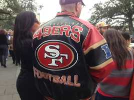 49er fans are showing their support in New Orleans (Feb. 2, 2013).
