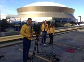 Live in front of the Superdome on game day. (Feb. 3, 2013)