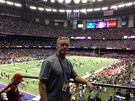 KCRA chief photographer Mike Rhinehart at the Superdome.
