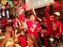 Fans were pumped in San Francisco on Sunday, watching the 49ers take on the Ravens in the Super Bowl (Feb. 3, 2013).