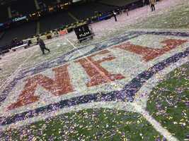 Behind the scenes at the Super Bowl, after the Baltimore Ravens defeated the San Francisco 49ers (Feb. 3, 2013).