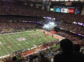 The San Francisco 49ers take the field for the Super Bowl against the Baltimore Ravens (Feb. 3, 2013).