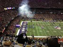 The Baltimore Ravens take the field for the Super Bowl against the San Francisco 49ers (Feb. 3, 2013).