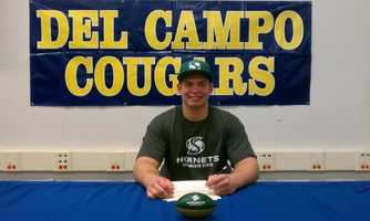 Kyle Evanski from Del Campo High School signed a National Letter of Intent to play football at CSU Sacramento.