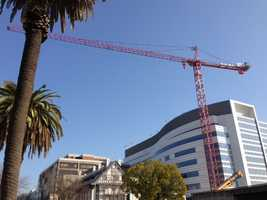 Crews will remove a crane over the weekend that has stood at Capitol Avenue and 28th Street during the construction of the Sutter Women's and Children's Center for two years.