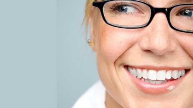 smile, woman, glasses