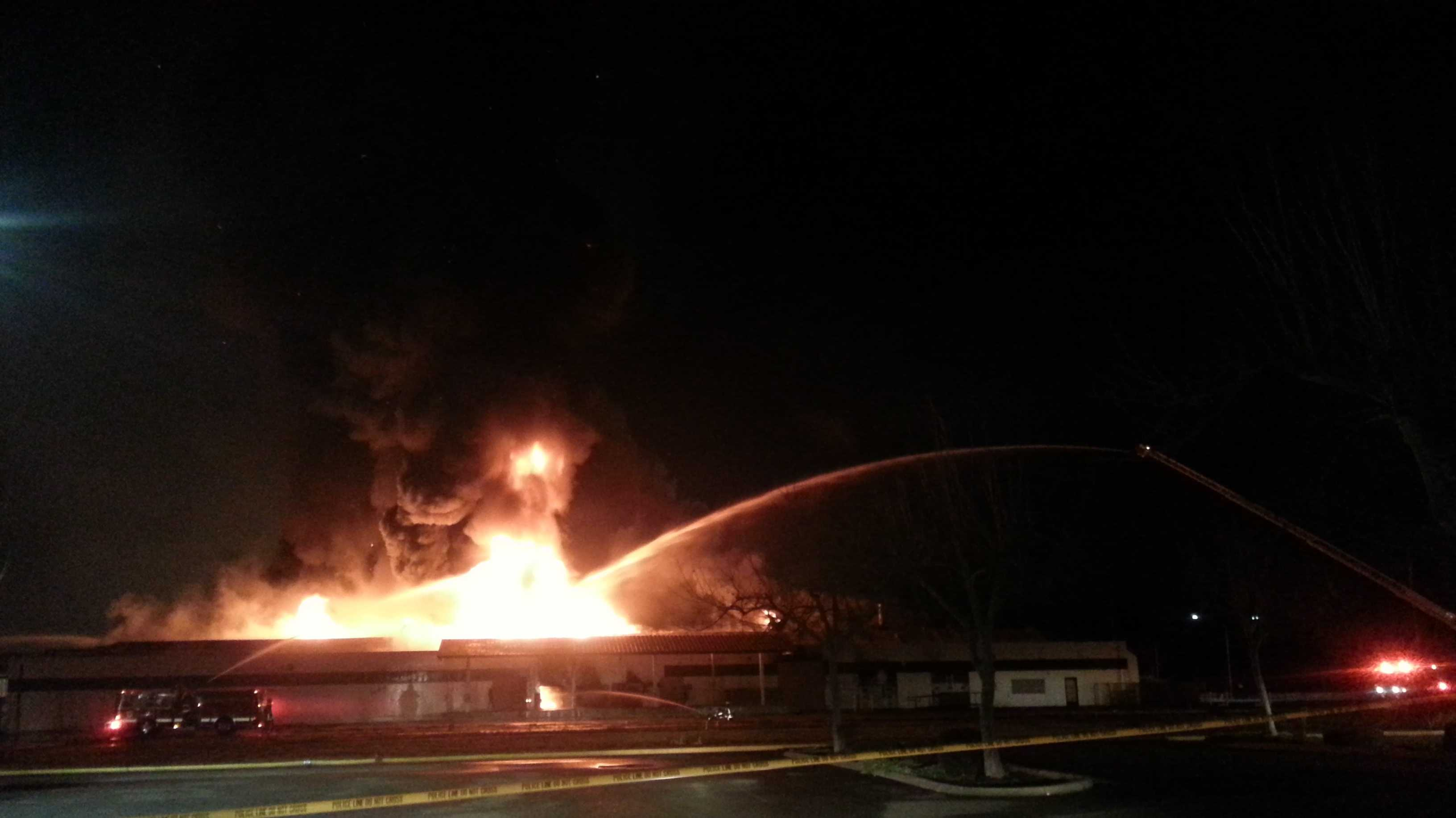 "Firefighters battled a blaze that was deemed ""suspicious"" by Turlock police on Tuesday night."