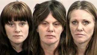 From left, the arson/attempted homicide suspects are Erika Clardy, Lanette Sullivan and Wanda White