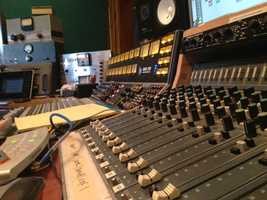 The audio board inside the Hangar Studio's control room.