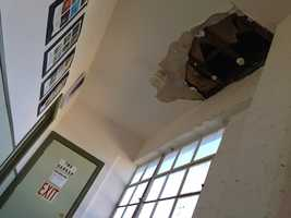 A hole in the ceiling at the Hangar Studio is one of the reasons why the business is closing.