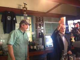 Chesbro pours the first pint of beer - a brew he made - during Thursday's unofficial kickoff to Sacramento's annual Beer Week. To Chesbro's left is Phillips.