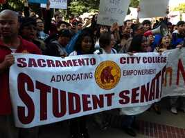 Thousands of college students marched at the Capitol Mall on Monday to protest cuts to education. (March 4, 2013)