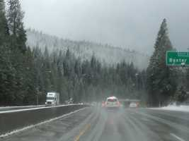 Some snow made a steady run in parts of the Sierra overnight Wednesday and the conditions continued through the day.