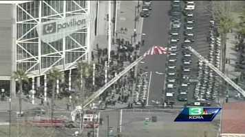 Aerial view outside HP Pavilion before Thursday's memorial service.
