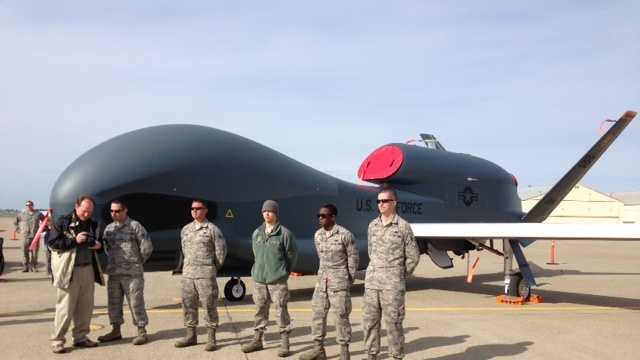The oldest flying organization in the U.S. Air Force is celebrating its centennial this year, and used a tarmac at Beale Air Force Base to give the public a rare, up-close glimpse at its U2 spy plane and the Global Hawk, an unmanned drone.