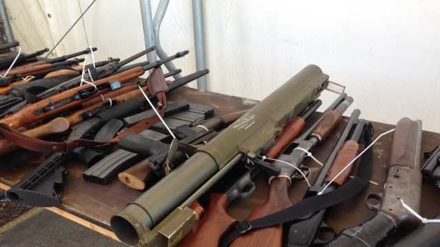Used rocket launcher and 344 firearms were turned into police at the Solano County Fairgrounds during gun buyback event.