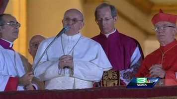 Pope Francis, 76-year-old Jesuit from Latin America, addresses the crowd that gathered in St. Peter's Square.