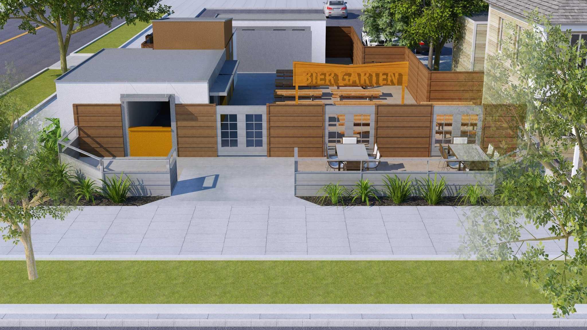 Rendering of the planned Bier Garten in Midtown Sacramento.