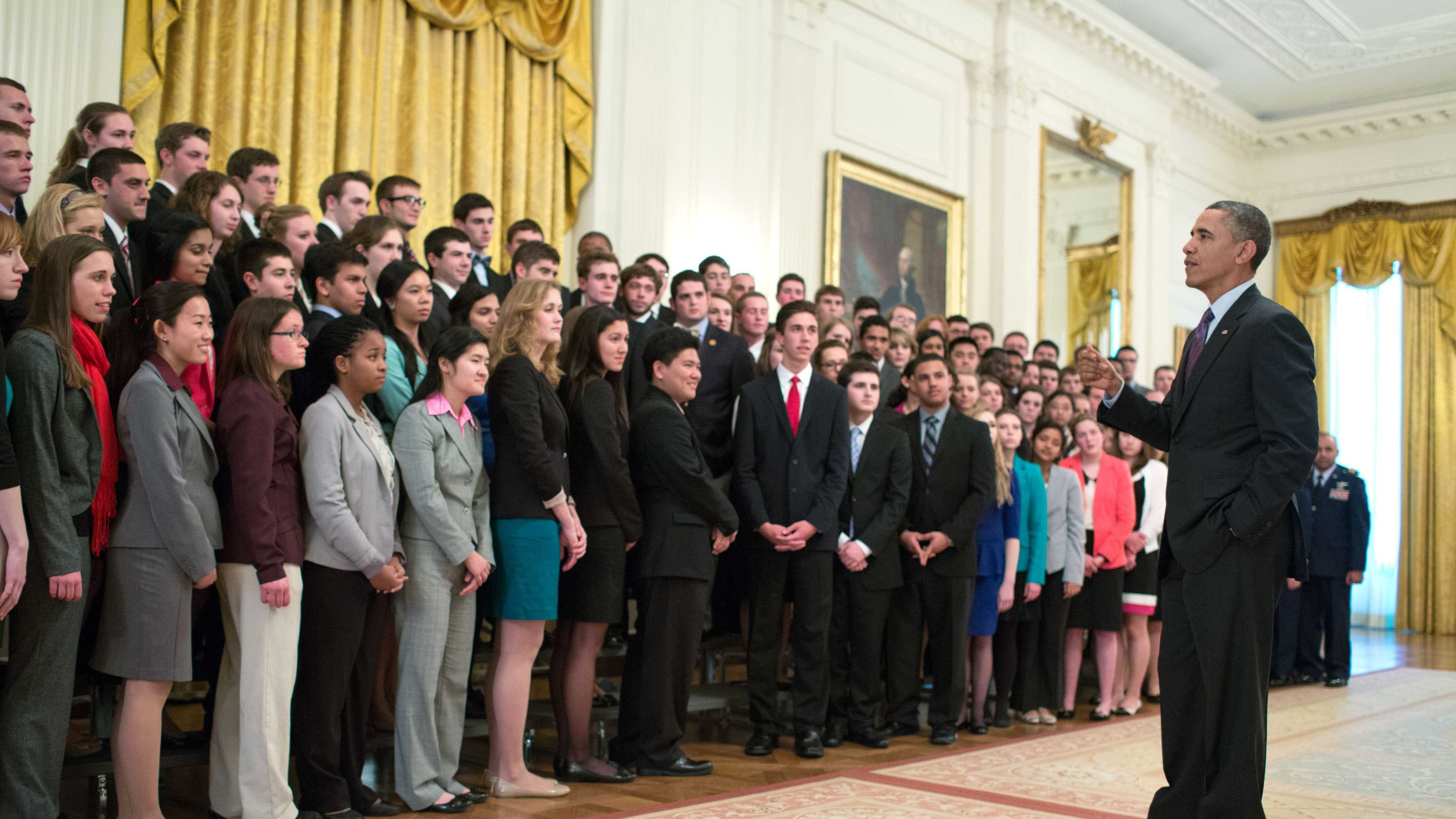 President Barack Obama speaks with members of the United States Senate Youth Leadership Program in the East Room of the White House. (March 14, 2013)