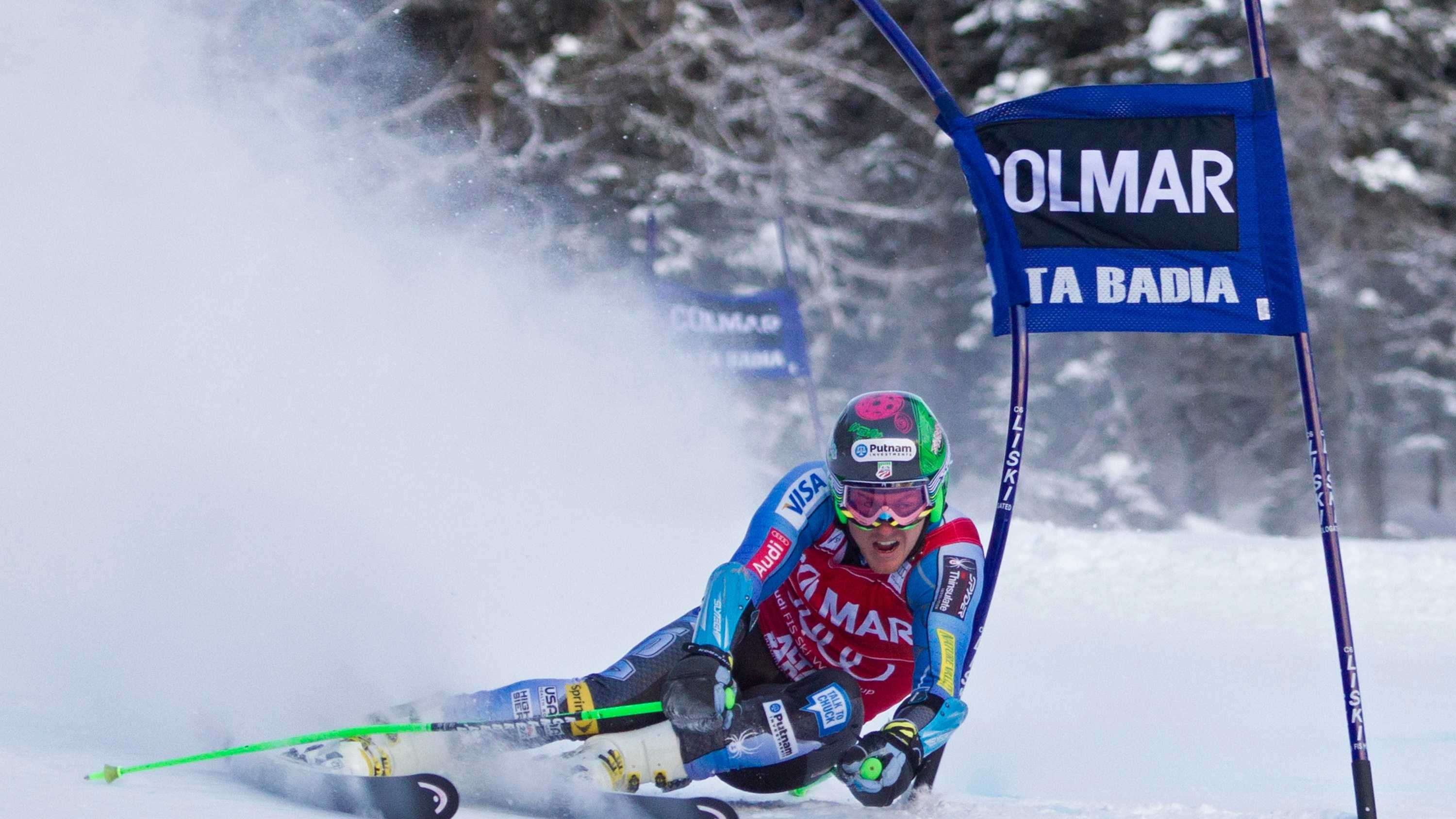 Ted Ligety races down the course during the Alpine FIS Ski World Cup giant slalom race on Feb. 24 in Garmisch Partenkirchen, Germany.