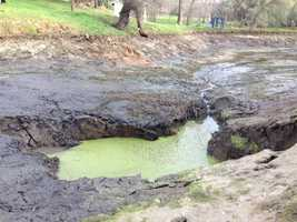 "The sinkhole emptied the pond much faster: ""I would guess probably four to five hours for this whole area to drain,"" Korb said (March 18, 2013)."