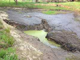 When Mark Korb woke up Sunday morning, he noticed the man-made pond on his property didn't look the way it did when he went to bed (March 18, 2013).